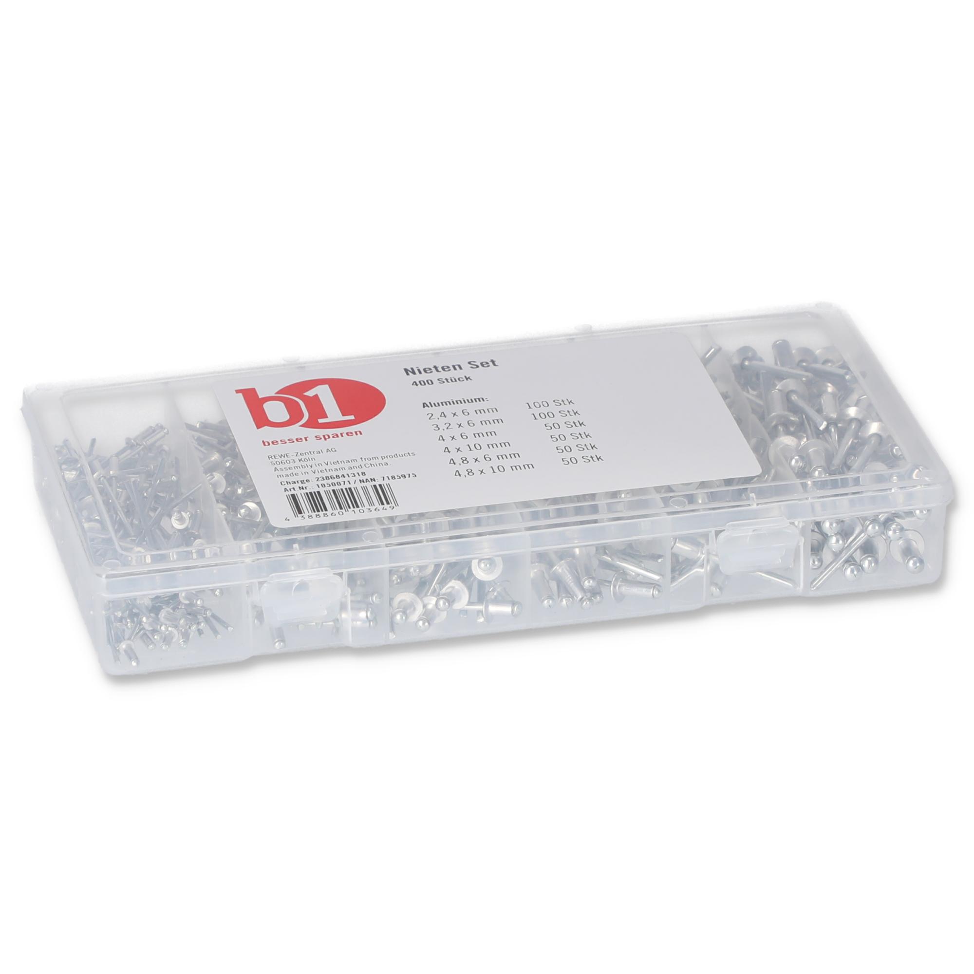 200x Blindnieten Sortiment Alu in 8 verschiedenen Größen im Sortimentskasten