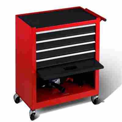 Werkstattwagen 4 Schubladen rot/schwarz
