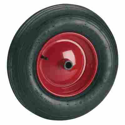 Luftrad Ø 400 mm mit roter Metallfelge, Rollenlager und Rillenprofil
