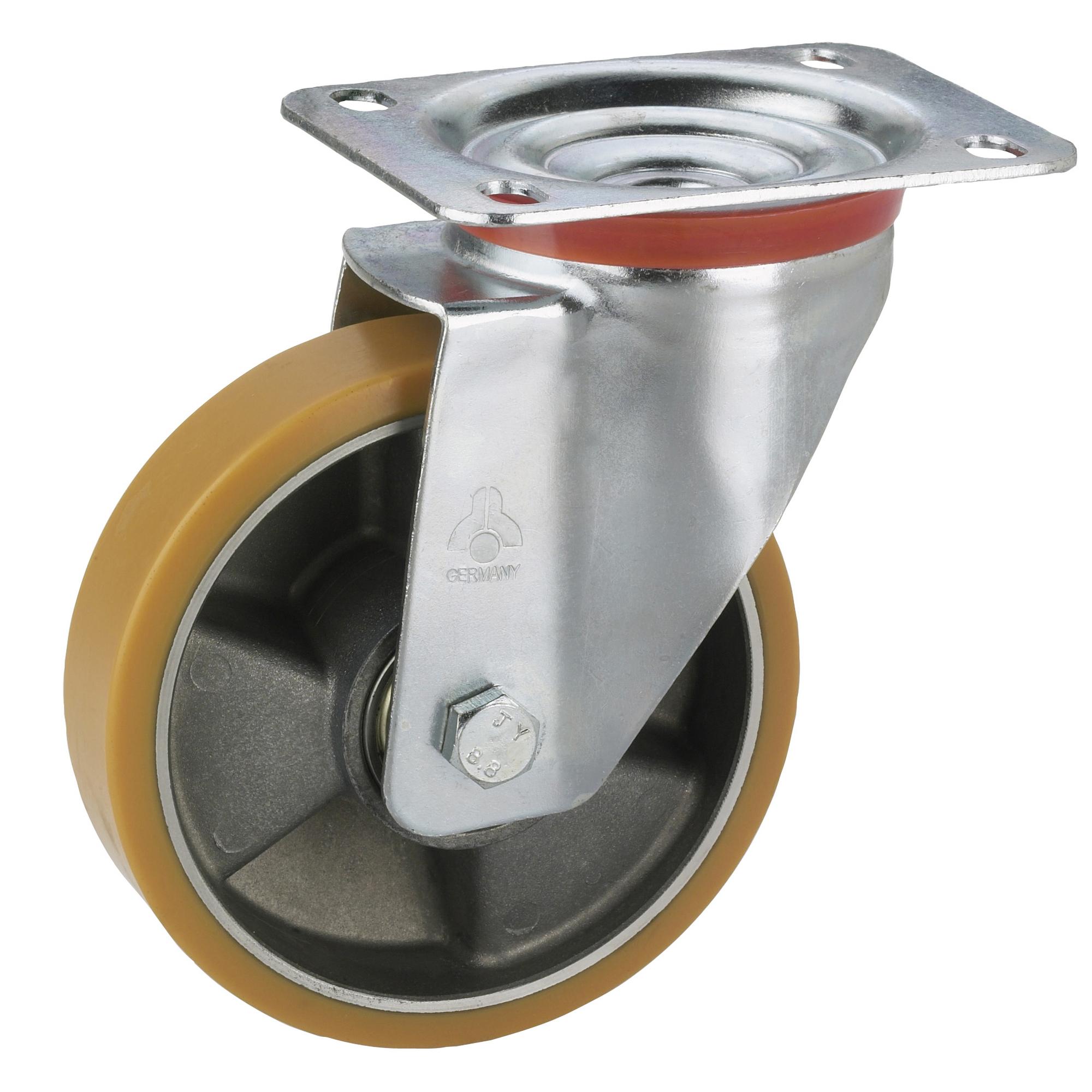 Polyamid-Lenkrolle mit Feststellrolle 125 x 35 mm//Platte 100 x 85 mm