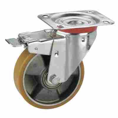 Transportgeräte-Lenkrolle mit Platte und Totalfeststeller, verzinkt, Aluminium-Druckguss Felge mit Kugellager, Lauffläche aus Polyurethan, 125 x 30 mm