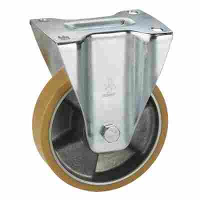 Transportgeräte-Bockrolle, verzinkt, Aluminium-Druckguss Felge mit Kugellager, Lauffläche aus Polyurethan, 125 x 35 mm