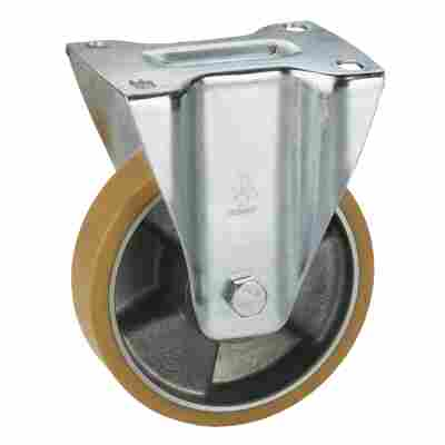 Transportgeräte-Bockrolle, verzinkt, Aluminium-Druckguss Felge mit Kugellager, Lauffläche aus Polyurethan, 160 x 50 mm