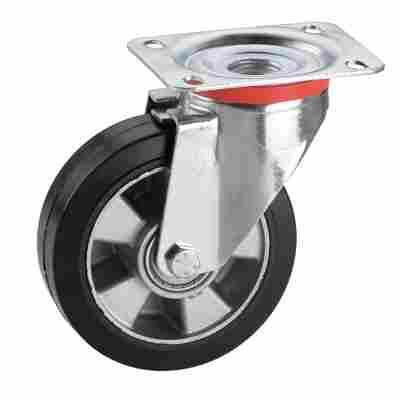 Transportgeräte-Lenkrolle mit Platte, verzinkt, Aluminium-Druckguss Felge mit Kugellager, Elastik Vollgu mmireifen schwarz, 125 x 50 mm