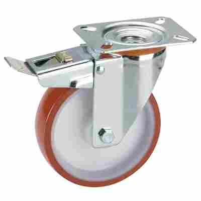Transportgeräte-Lenkrolle mit Platte und Totalfeststeller, V2A, Polyamidfelge mit Gleitlager, Lauffläche aus Polyurethan, 125 x 30 mm
