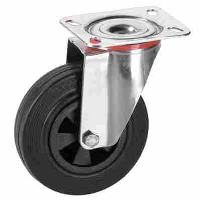 Transportgeräte-Lenkrolle mit Platte, V2A, Kunststofffelge mit Gleitlager, Lauffläche aus Vollgu mmi, 125 x 37 mm