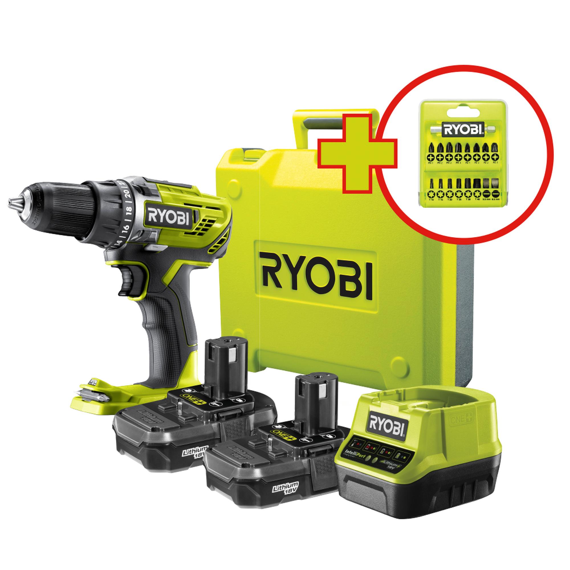 13 mm Ryobi 2-Gang Akku-Bohrschrauber 18 V R18DD3-0 Akku und Ladegerät o