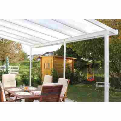 Terrassendach Bausatz Polycarbonat weiß 3,06 x 4,26 m