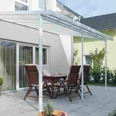 Terrassendach Bausatz Polycarbonat weiß 3,06 x 5,46 m