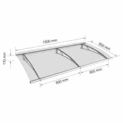 "Pultbogenvordach ""LT-Line"" Acrylglas satiniert transparent/silbern 190 x 17 x 95 cm Edelstahl V4A"