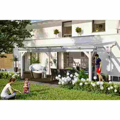 Terrassenüberdachung 'Sanremo' Leimholz weiß 648 x 350 cm