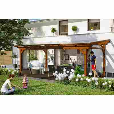 Terrassenüberdachung 'Sanremo' Leimholz nussbaum 648 x 400 cm