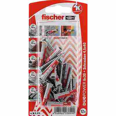 fischer DUOPOWER 6 x 30 S mit Schraube 12 Stück
