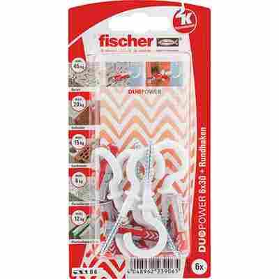 fischer DUOPOWER 6 x 30 RH mit Rundhaken, nylonbeschichtet 6 Stück