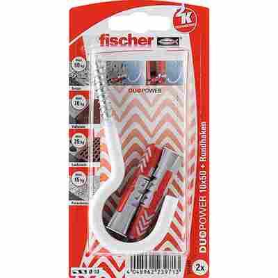 fischer DUOPOWER 10 x 50 RH G mit Rundhaken, groß, nylonbeschichtet 2 Stück