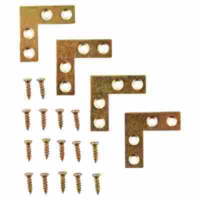 Möbelwinkel Stahl vermessingt 4 Stück 10 x 30 x 30 mm seitliche Verschraubung