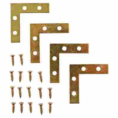 Möbelwinkel Stahl vermessingt 4 Stück 10 x 40 x 40 mm seitliche Verschraubung