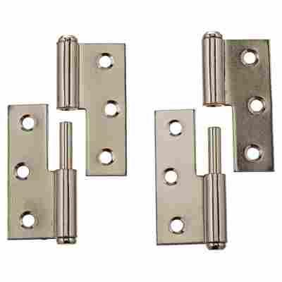 Möbelbänder rechts Stahl vernickelt Ø 8 x 50 mm 2 Stück