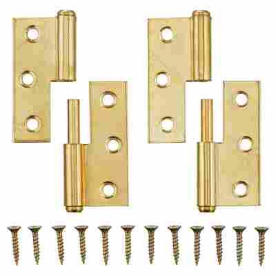Möbelbänder links Messing Ø 8 x 50 mm 2 Stück
