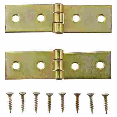 Tischbänder Stahl verzinkt 8 x 2 cm 2 Stück