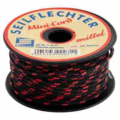 Minicord-Schnur Polyester schwarz-rot 3 mm x 20 m