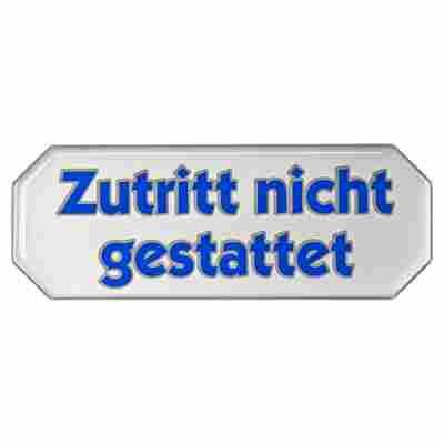 """3D-Hinweisschild """"Zutritt nicht gestattet"""" selbstklebend 10,7 x 4 cm"""