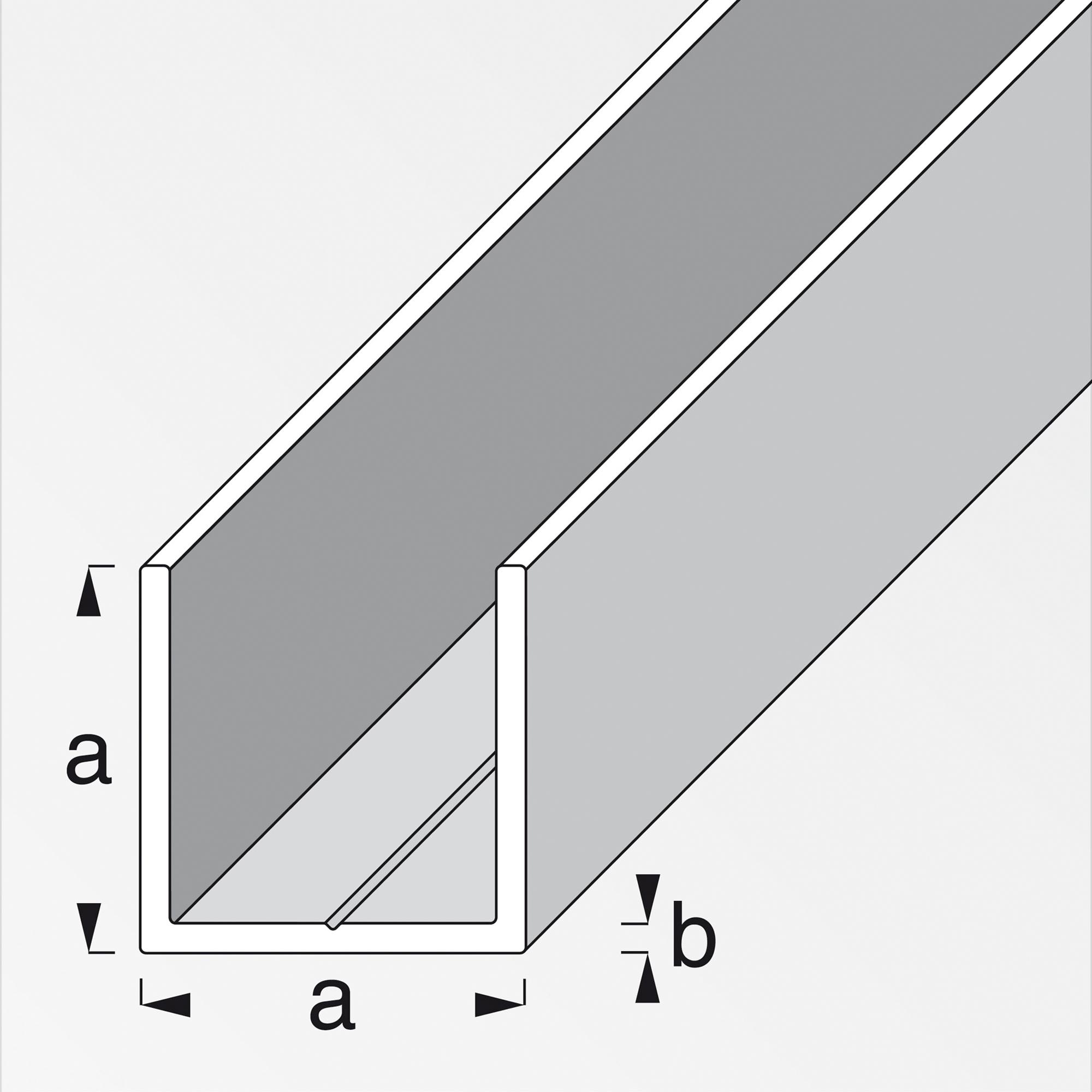 Alfer Quadrat-U-Profil combitech® Aluminium 100 cm 15,5 mm