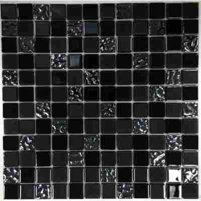 Mosaikfliese 'Easyglue' schwarz-blau 30 x 30 cm