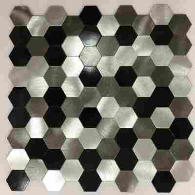 Mosaikfliese 'Easyglue' silber-schwarz 30 x 30 cm