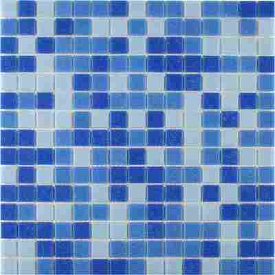 Mosaikfliese Glas Mix Color blau 32,5x32,5cm