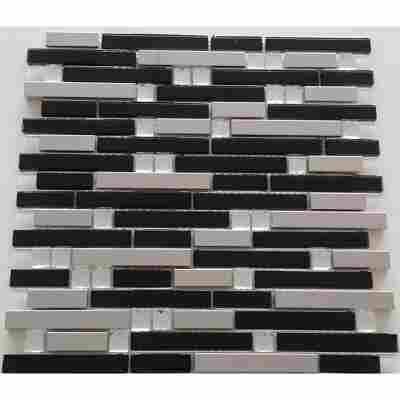 Mosaikfliese Diamond black-silver 29,8x30,4cm