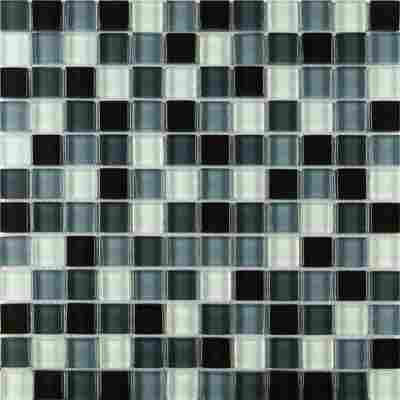 Mosaikfliese Glas Mix schwarz 30x30cm