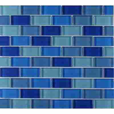 Mosaikfliese Glas Mix blau 30x30cm