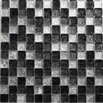 Mosaikfliese Inca scharz-silber-weiß 30x30cm