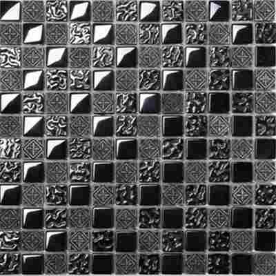 Mosaikfliese Fiori Metall schwarz 30x30cm