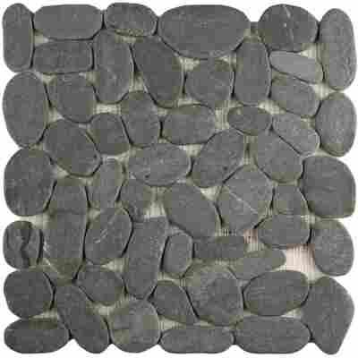 Mosaikfliese Loox Kiesel black 29 x 29 cm
