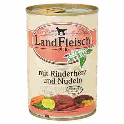 """Hundenassfutter """"Pur"""" mit Frischgemüse/Rinderherz/Nudeln 400 g"""
