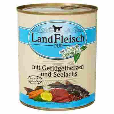 """Hundenassfutter """"Pur"""" mit Frischgemüse/Geflügelherzen/Seelachs 800 g"""