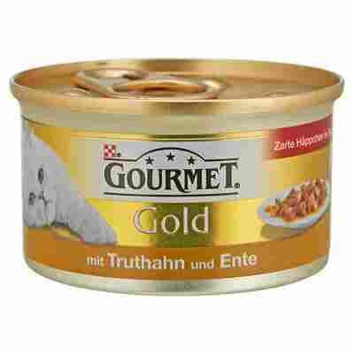 "Katzennassfutter ""Gourmet Gold"" Zarte Häppchen in Sauce Truthahn & Ente 85 g"