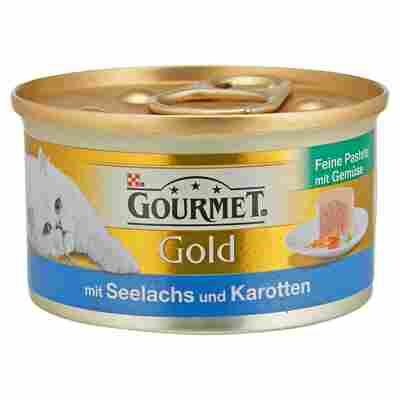 """Katzennassfutter """"Gourmet Gold"""" Feine Pastete mit Seelachs & Karotten 85 g"""