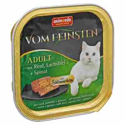 """Katzennassfutter """"Vom Feinsten"""" Adult mit Rind/Lachsfilet/Spinat 100 g"""
