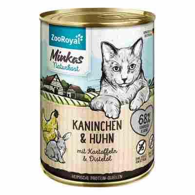 Katzennassfutter Adult Kaninchen und Huhn mit Kartoffeln und Distelöl 400 g