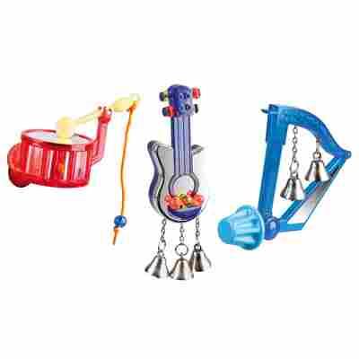 Vogelspielzeug Musikinstrumente farblich sortiert