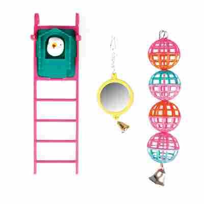 Vogelspielzeug Spiegel, Leiter, Bälle, farblich sortiert