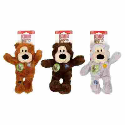 Hundespielzeug mit Quietscher, Bär, Größe M/L, 100 x 260 mm, grau/braun/dunkelbraun sortiert