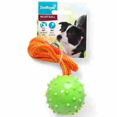 Hundespielzeug Wurfball an Seil Ø 60 mm grün/orange