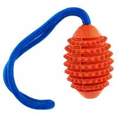 "Hundespielzeug ""Ruffus"" Aqua Football Gummi orange/blau Ø 11 x 32 cm"