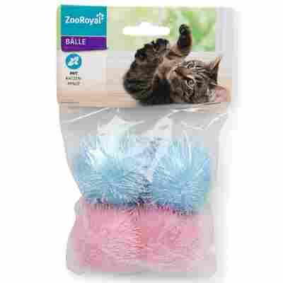 Katzenspielzeug Stoffball mit Katzenminze, Ø 45 mm, rosa/blau, 4 Stück