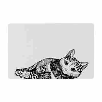 Napfunterlage mit Katzenmotiv, weiß/schwarz, 440 x 280 mm