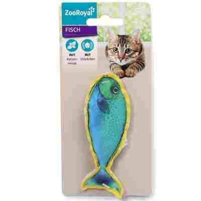Katzenspielzeug Fisch mit Glöckchen und Katzenminze, 45 x 110 mm, blau/gelb
